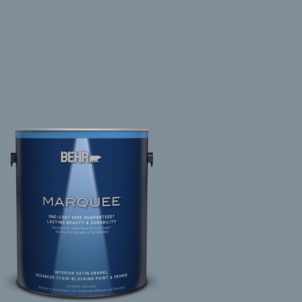 BEHR MARQUEE 1 gal. #MQ5-20 Cold Steel One-Coat Hide Satin Enamel Interior Paint