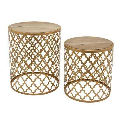 22.25 in. Gold Wood and Metal Table (Set of 2