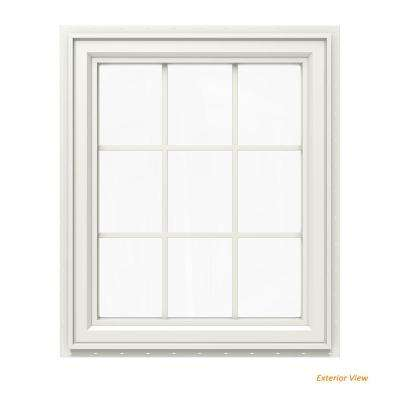 29.5 in. x 35.5 in. V-4500 Series White Vinyl Right-Handed Casement Window with Colonial Grids/Grilles
