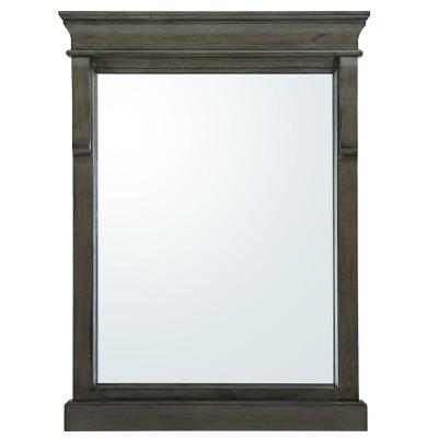 23.5 in. W x 32 in. H Framed Rectangular  Bathroom Vanity Mirror in Distressed Grey