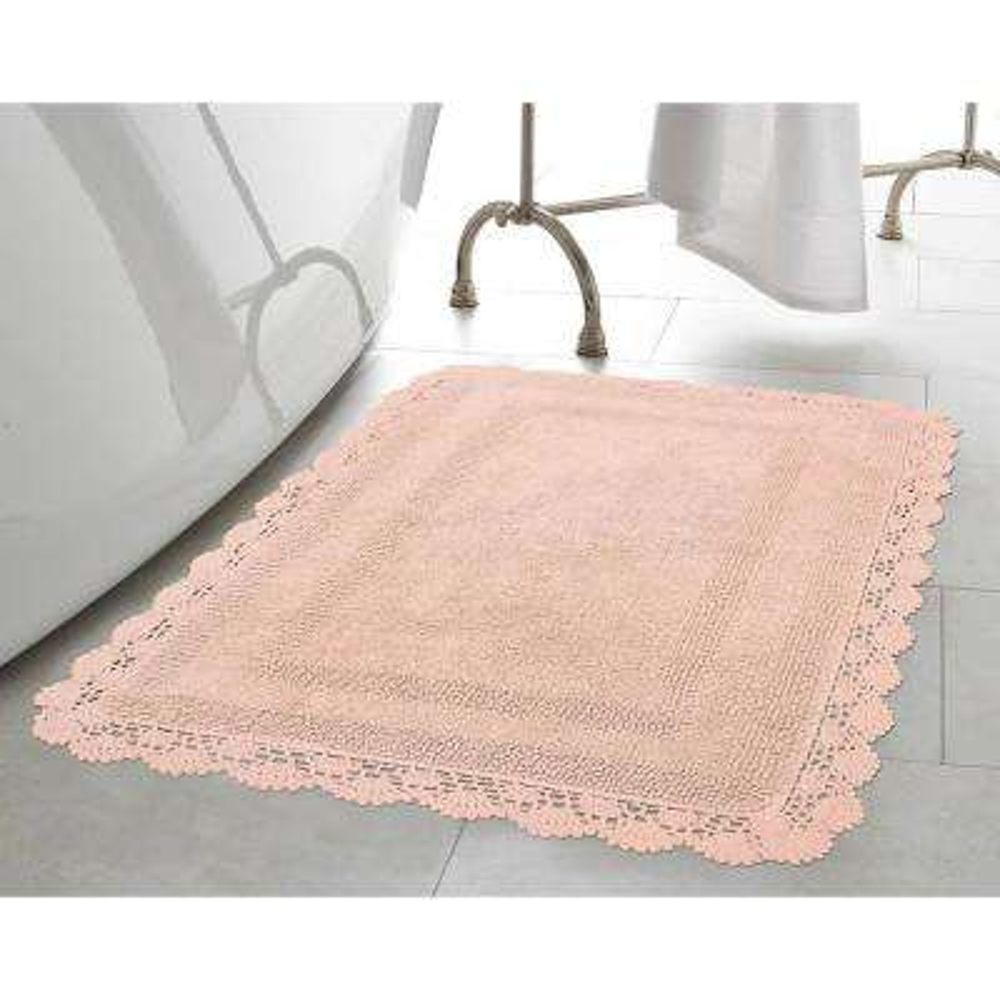 Crochet 100% Cotton 17 in. x 24 in./21 in. x 34 in. 2-Piece Bath Rug Set in Blush