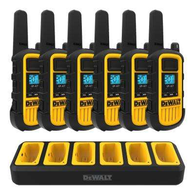 DXFRS800 Heavy-Duty 2-Watt Walkie Talkies (6-Pack) with 6 Port Gang Charger