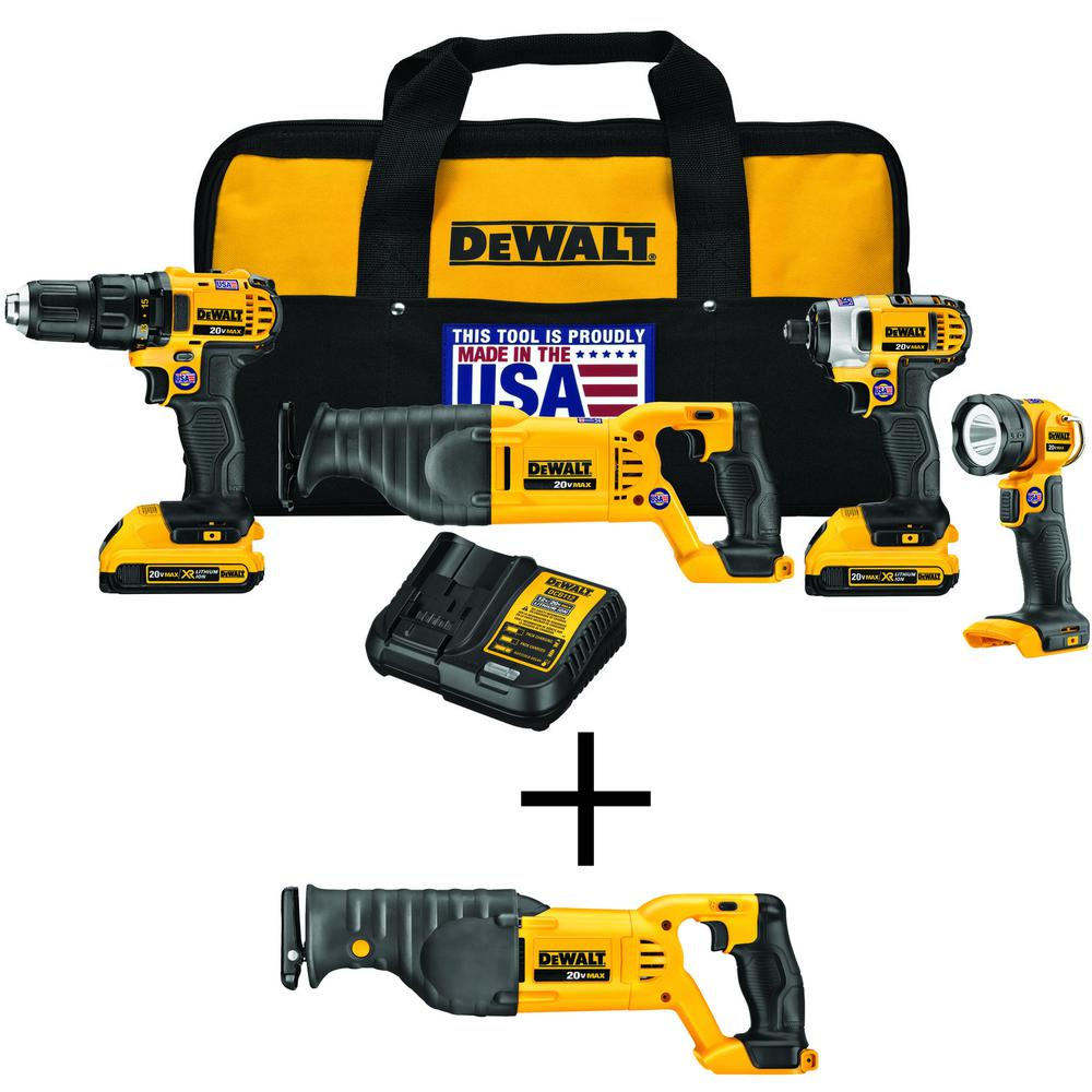 DEWALT 20-Volt MAX Li-Ion Cordless Combo Kit (4-Tool) with Bonus 20-Volt MAX Lithium-Ion Cordless Reciprocating Saw (Tool-Only) was $529.0 now $299.0 (43.0% off)