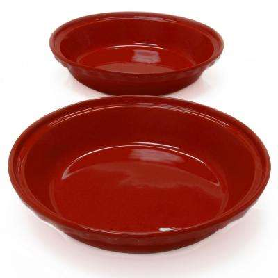 Deep 9.5 in. Cinnabar Round Ceramic Pie Dish (2-Pack)