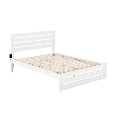 Oxford White Queen Bed with Footboard and USB Turbo Charger