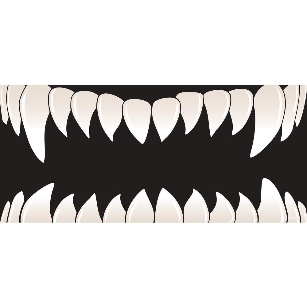 7 ft. x 16 ft. Scary Teeth Halloween Garage Door Decor Mural for Double Car Garage Car Garage