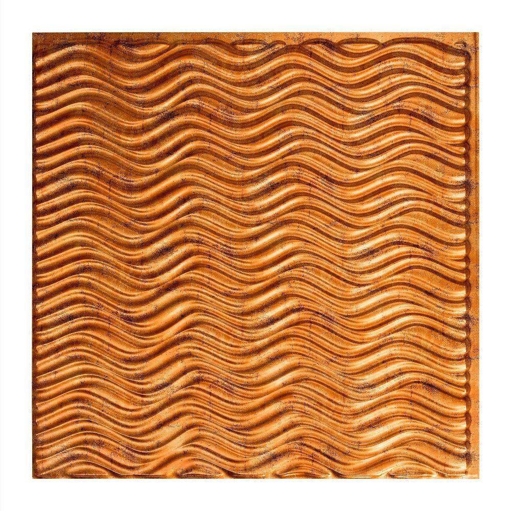 Fasade Current Horizontal - 2 ft. x 2 ft. Vinyl Glue-Up Ceiling Tile in Muted Gold
