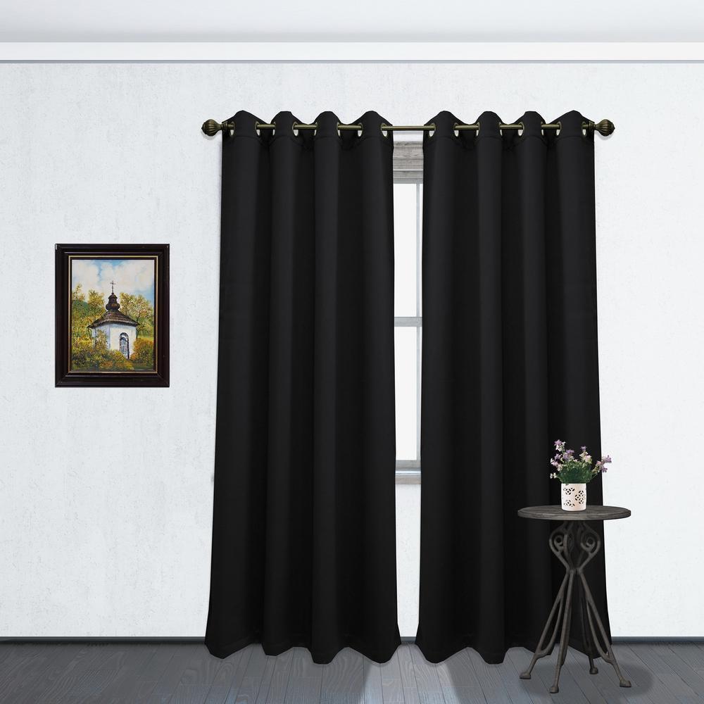 84 in. L Blackout Grommet Curtain Panel in Black