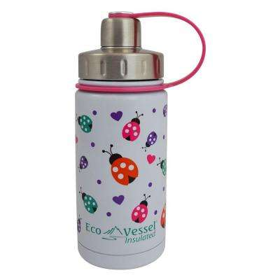 13 oz. Twist Triple Insulated Bottle with Screw Cap - White with Ladybugs