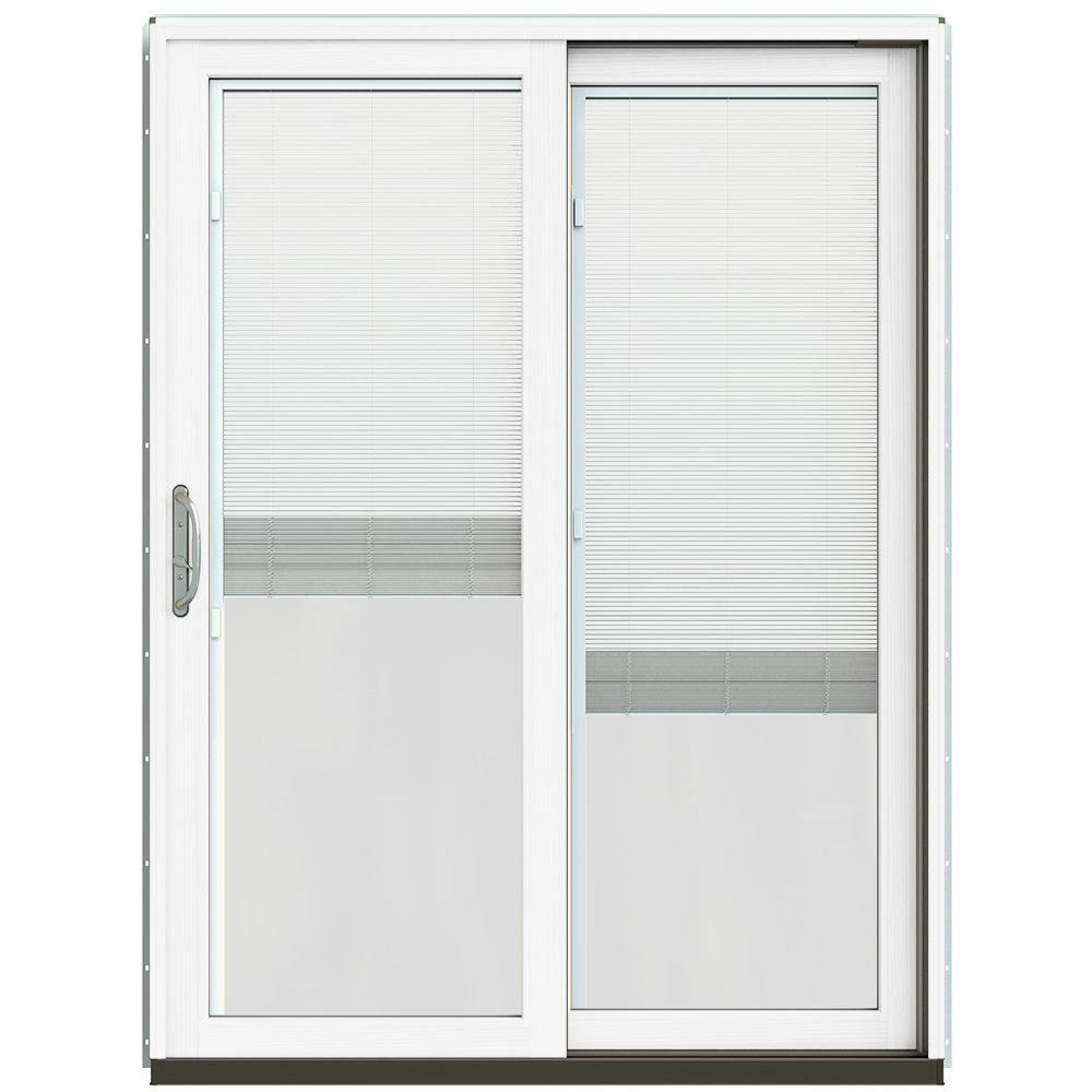 JELD WEN 59 1/4 In. X 79 1/2 In. W 2500 Arctic Silver Prehung Right Hand  Clad Wood Sliding Patio Door With Blinds | Shop Your Way: Online Shopping U0026  Earn ...