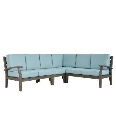 Verdon Gorge Gray 3-Piece Oiled Wood Outdoor Sofa with Sunbrella Blue Cushions