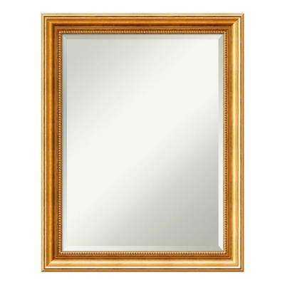 Townhouse Gold Wood 22 in. x 28 in. Traditional Bathroom Vanity Mirror