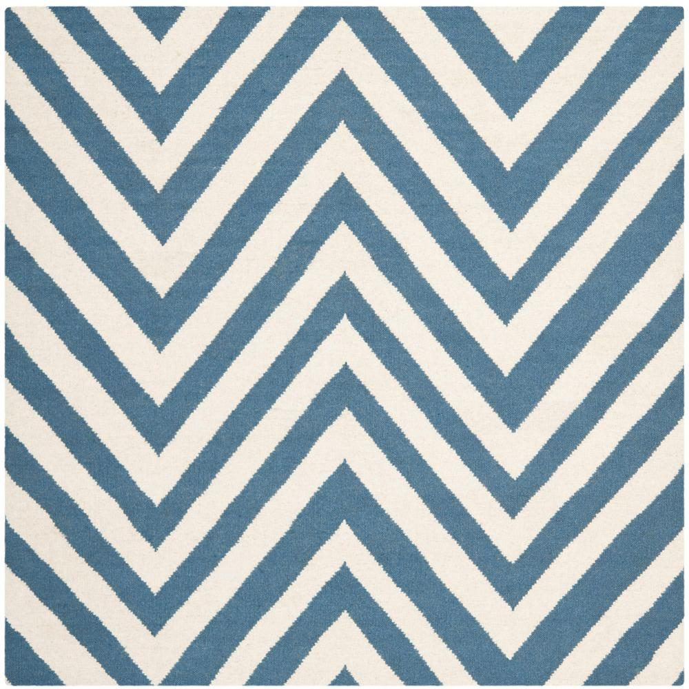 Dhurries Blue/Ivory 6 ft. x 6 ft. Square Area Rug