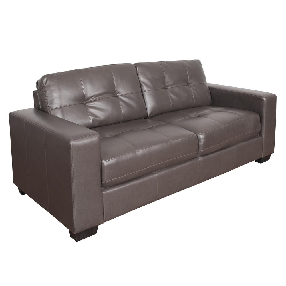 Club Tufted Brownish-Grey Bonded Leather Sofa