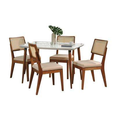 Charles 45.27 in. and Pell 5-Piece White Gloss and Dark Beige Dining Set
