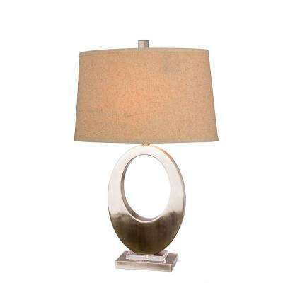 30 in. Brushed Steel Metal Oval Table Lamp
