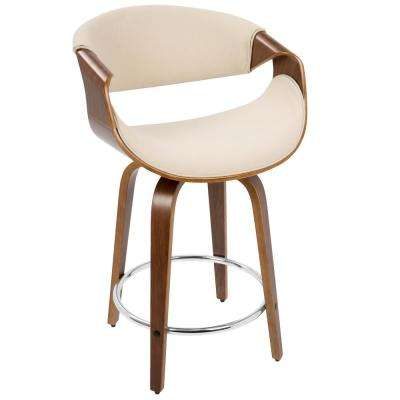 Curvini 24 in. Walnut and Cream Counter Stool