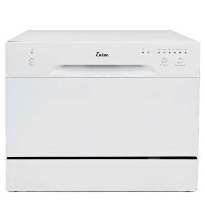 Portable Countertop Compact Dishwasher with 6-Program Settings and Stainless Steel Tub in White