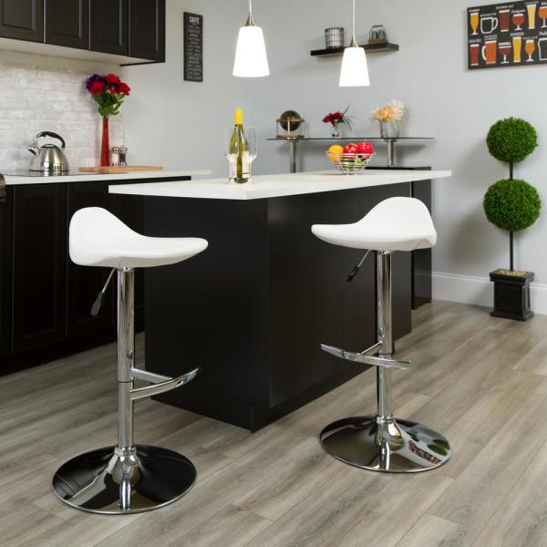 Flash Furniture 33 in. Adjustable Height White Cushioned Bar Stool DS8002WH