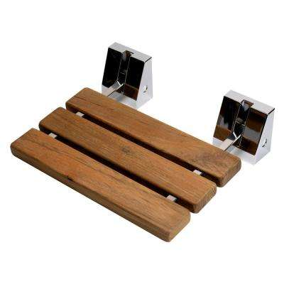Wall-Mounted Shower Seat with Polished Chrome Joints in Natural Wood