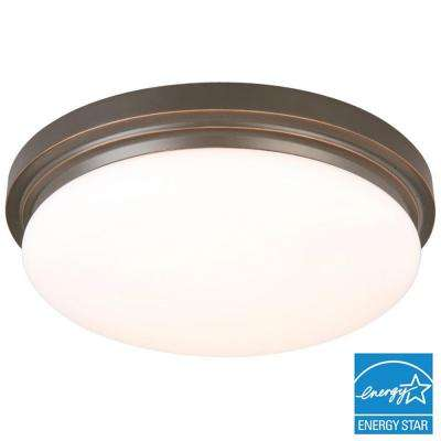 15 in. 225-Watt Equivalent Oil-Rubbed Bronze Integrated LED Flushmount with Frosted Glass Shade