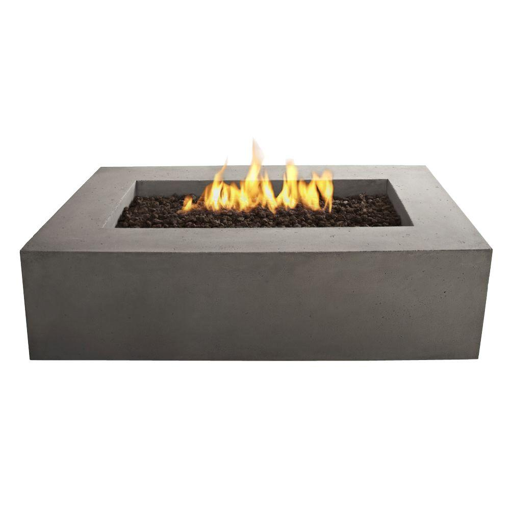 Rectangle Natural Gas Outdoor Fire Pit In Glacier Gray