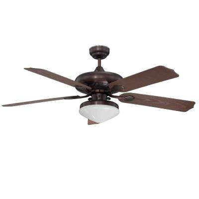 Landen 52 in. Oil Rubbed Bronze Ceiling Fan with Light Kit and 5 Blades
