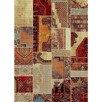 Aiza Collection Red 5 ft. 3 in. x 7 ft. 3 in. Area Rug