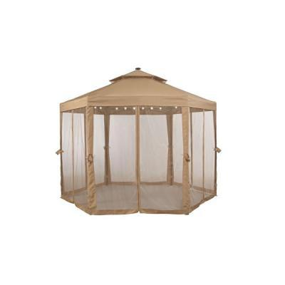 10 ft. x 10 ft. Solar Gazebo Outdoor Patio Replacement Canopy