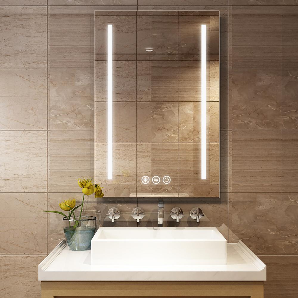 24 in. W x 36 in. H Frameless Rectangular LED Light Bathroom Vanity Mirror in Silver