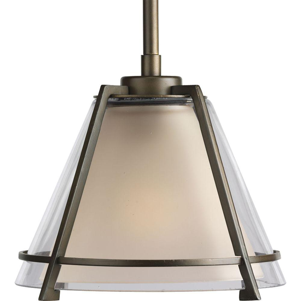 Progress Lighting 1-Light Oil Rubbed Bronze Mini Pendant with Clear And Etched Umber Glass