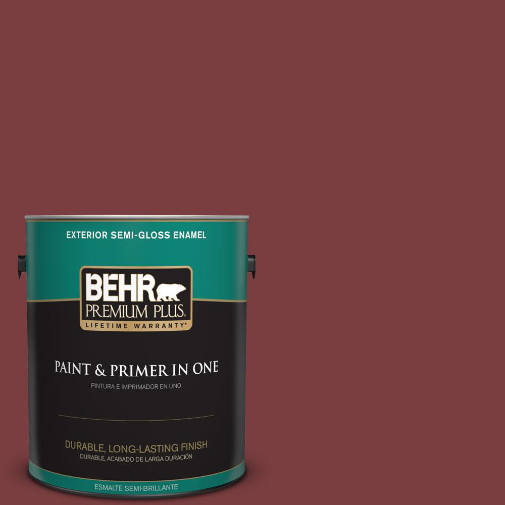 BEHR Premium Plus 1-gal. #S-H-140 Cinnamon Cherry Semi-Gloss Enamel Exterior Paint
