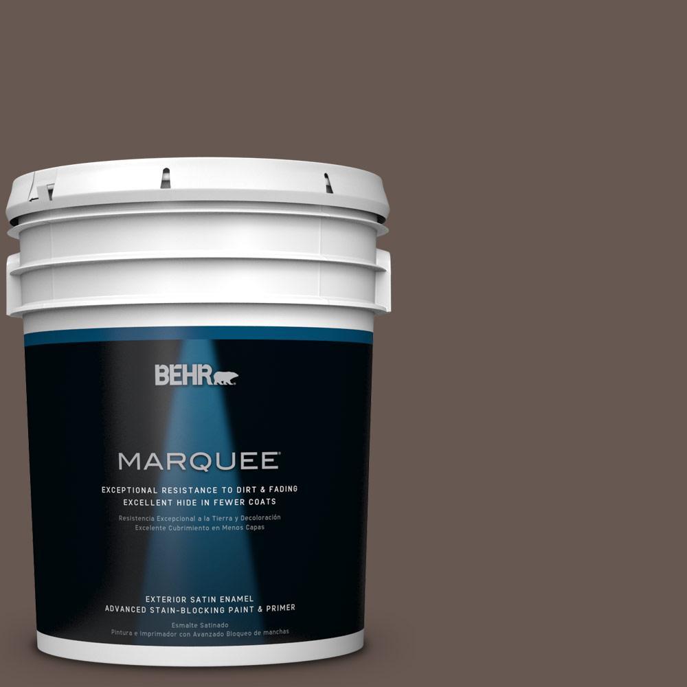 5 gal. #HDC-FL14-10 Pine Cone Brown Satin Enamel Exterior Paint
