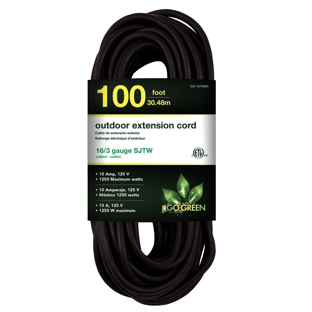 Go Green Power 100 ft. 16/3 SJT W-A Extension Cord - Black