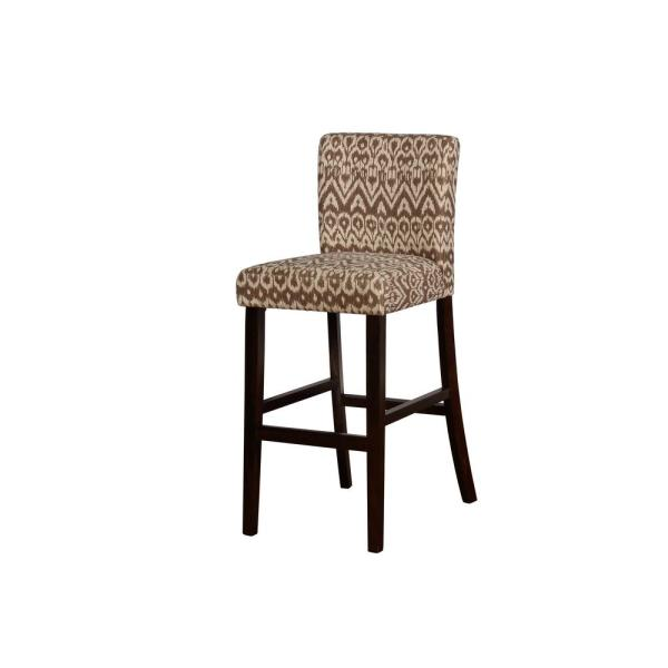 Linon Home Decor Boston 30 in. Ikat Upholstered and Brown Bar