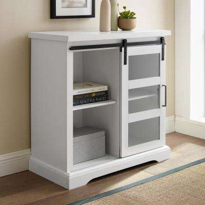 32 in. Solid White Sliding Glass Door Accent Cabinet