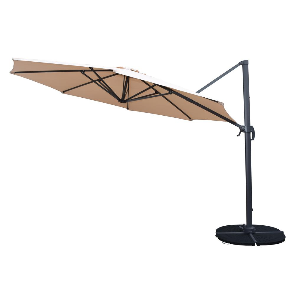11 ft. Cantilever Patio Umbrella in Beige and Stand