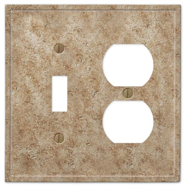 Talia 2 Gang 1-Toggle and 1-Duplex Resin Wall Plate - Noce