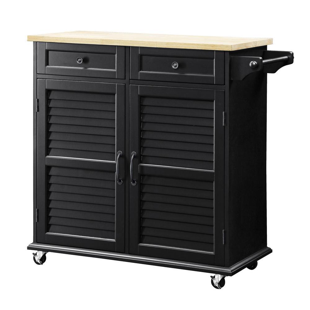 Small Kitchen Home Depot: USL Portland Black Small Kitchen Cart-SK19276C1-BK