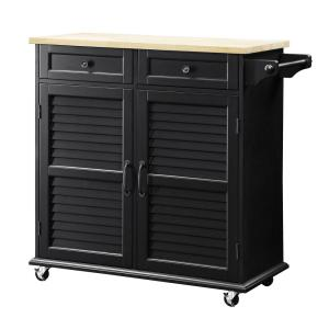 Portland Black Small Kitchen Cart