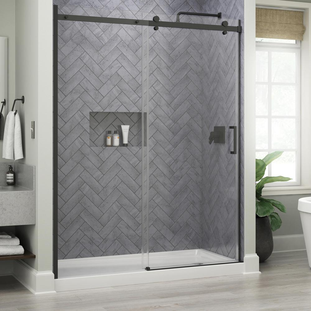 Delta Commix 60 In X 76 In Frameless Sliding Shower Door In Matte Black With 5 16 In 8 Mm Clear Glass Sdes860 Mb R The Home Depot