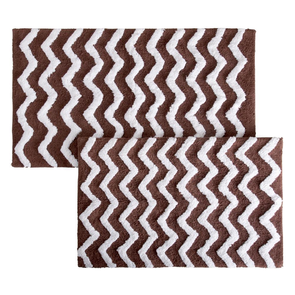 Chevron Chocolate 24.5 in. x 41 in. 2-Piece Bathroom Mat Set