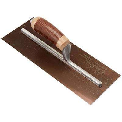 13 in. x 5 in. Elite Series Five Star Golden Stainless Steel Plaster Trowel with Leather Handle