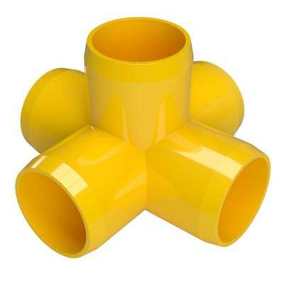 3/4 in. Furniture Grade PVC 5-Way Cross in Yellow (8-Pack)