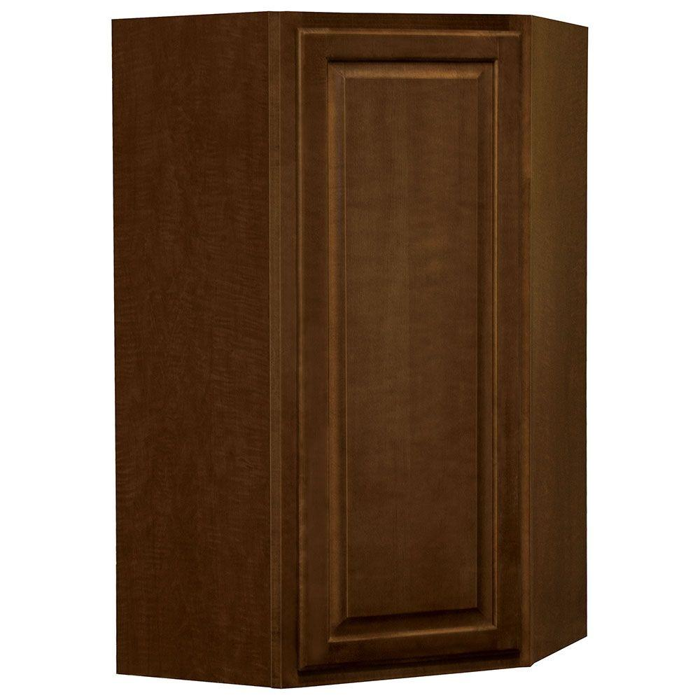 Hampton Bay Hampton Assembled 24x42x12 In Diagonal Corner Wall Kitchen Cabinet In Cognac