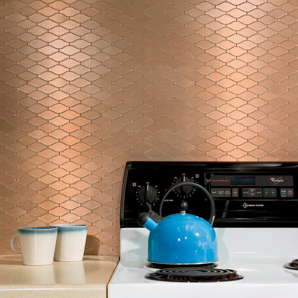 Wavelength Matted 6 in. x 4 in. Champagne Metal Decorative Tile Backsplash