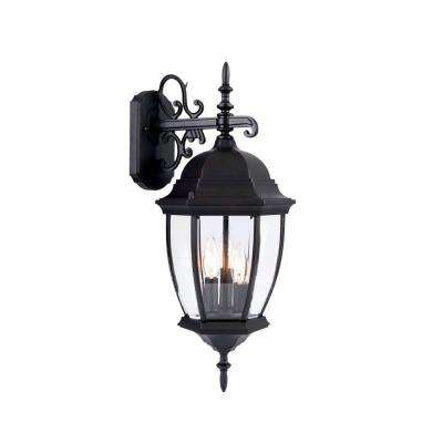 Wexford Collection 3-Light Matte Black Outdoor Wall-Mount Light Fixture