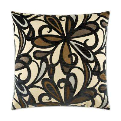 Fanfare Navy Feather Down 24 in. x 24 in. Standard Decorative Throw Pillow