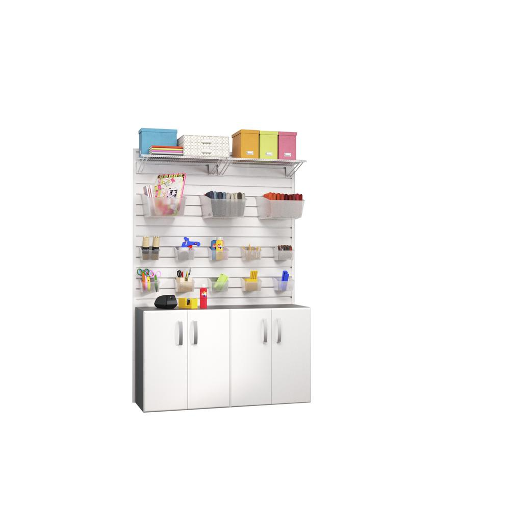 Modular Wall Mounted Craft Storage Set with Accessories in White (2-Piece)