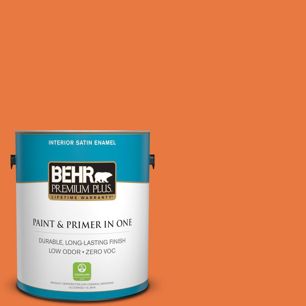 BEHR Premium Plus 1-gal. #S-G-250 Solar Flare Zero VOC Satin Enamel Interior Paint